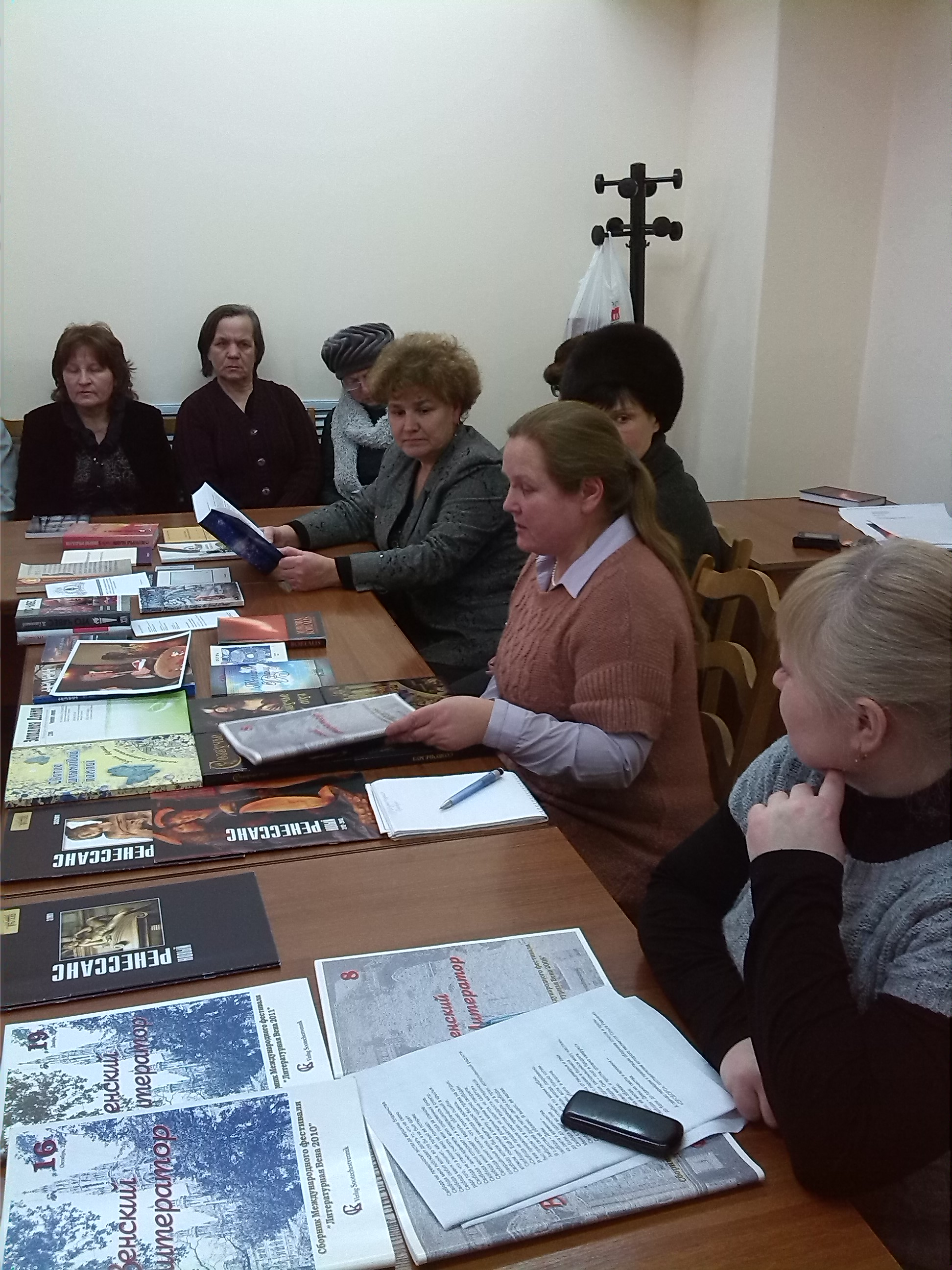 "Gomel, Liliya Velichko, Emma Pribylskaja and Olga Ravchenko meeting the ""Dialogue""Club members."